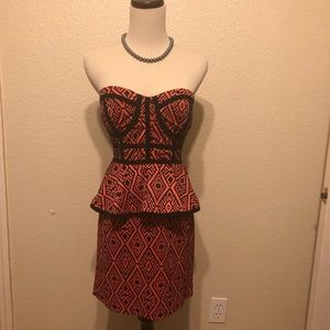 Bebe Coral and Black Strapless Dress Small